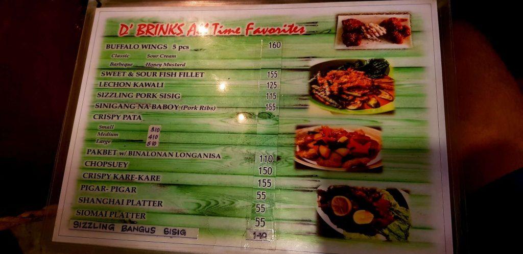 D'Brinks Restaurant Menu