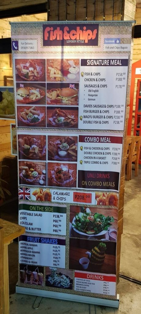 10 best places to eat in baguio - Fish and Chips Menu