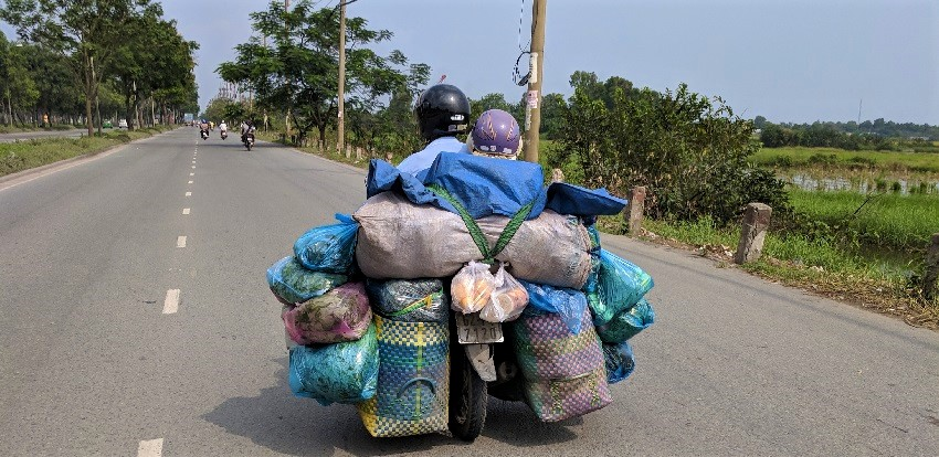 Carrying things on motorbike